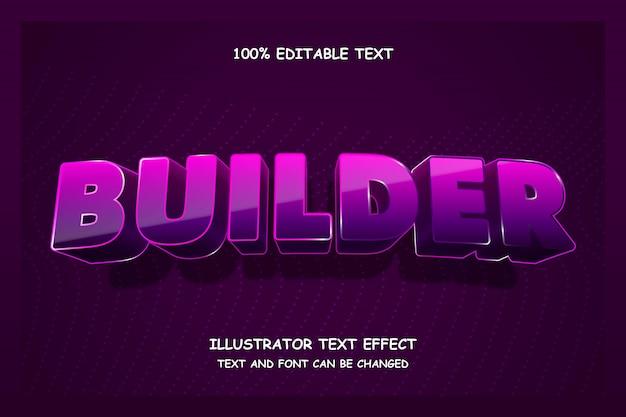 Builder, редактируемый текстовый эффект, современный стиль тени неонового стекла