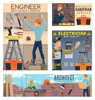 Builder engineer architect, electrician workers
