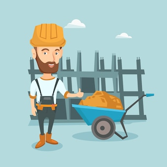 Builder giving thumb up vector illustration.