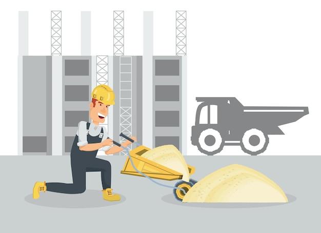 Builder holding a wheelbarrow