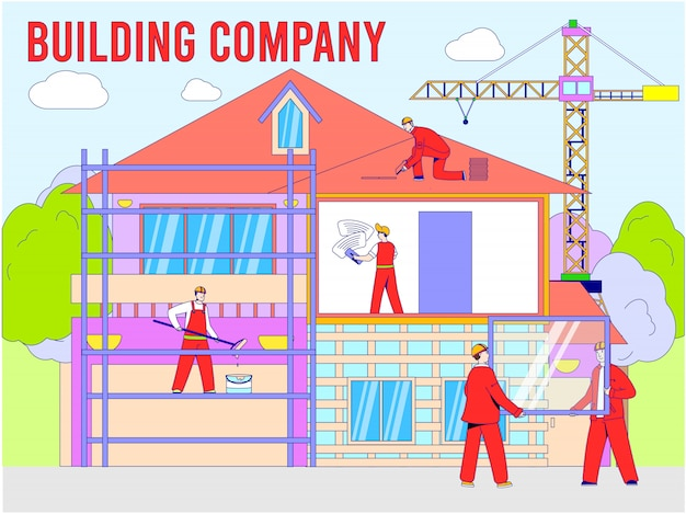 Builder in house construction illustration, cartoon worker man character work on building home, line people in build process