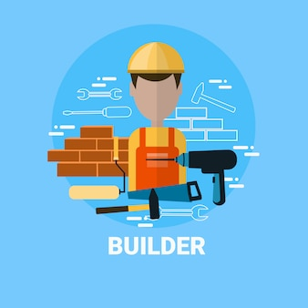 Builder icon contractor foreman or repairman avatar concept
