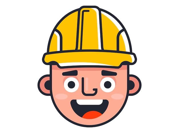 Строитель в желтом шлеме. милый конструктор персонажей. плоские векторные иллюстрации