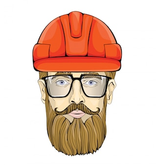Builder, industrial worker. the face of a bearded man with glasses in a construction helmet.  illustration,  on white.
