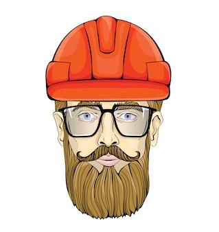 작성기, 산업 노동자. 건설 헬멧에 안경 수염 난된 남자의 얼굴. 그림, 흰색.