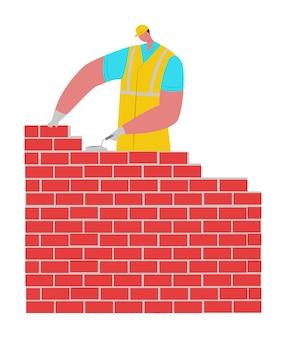 ビルダーの男性キャラクターは、ヘルメットの建物のレンガの壁を保護し、石積みを平らに構築します。