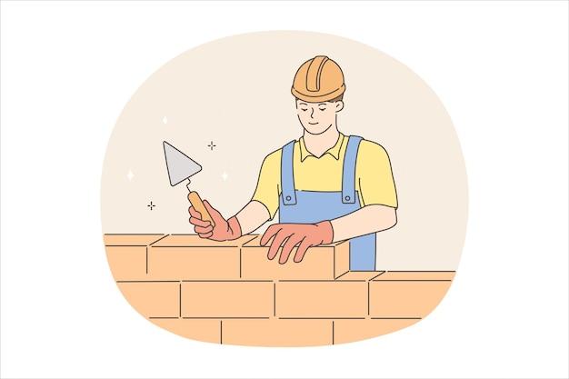 작업 개념 동안 작성기 남자입니다. 헬멧을 쓴 청년 작업자 빌더와 도구와 벽돌 벡터 삽화가 있는 균일한 서 있는 건물 벽