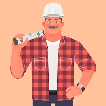 Builder. a man in a hard hat and working clothes keeps building level. construction site foreman.
