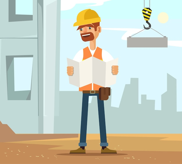 建設読み取り面、フラット漫画イラストのビルダー男労働者キャラクター