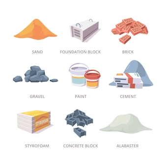 Строительные материалы. строительные инструменты свайные кирпичи, гипсокартон, цемент, песок, сбор материалов в мультяшном стиле