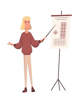 Строитель или архитектор. профессиональный характер. инженер fename, думающий, представляет новый проект, изолированные на белом фоне. презентация проекта