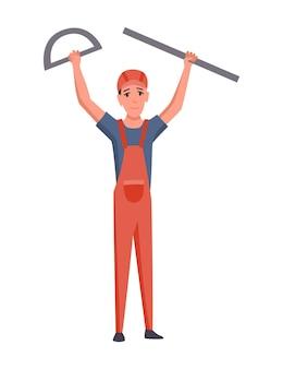 Строитель или архитектор. профессиональный характер. инженер-мужчина или рабочий в защитном шлеме изолированы