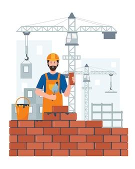 건물 장비 및 크레인 직업 사람들 개념 건설 현장에 작성기 또는 건설 노동자 문자