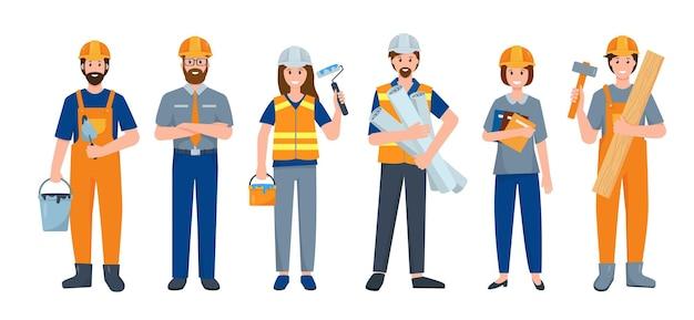 작업 도구와 제복을 입은 다른 포즈의 건축업자 또는 건설 노동자