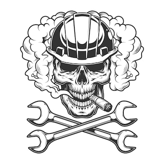 Builder skull smoking cigar