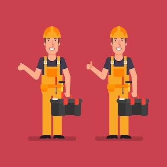Строитель улыбается, показывает палец вверх и держит коробку с инструментами. векторные иллюстрации. деловые люди.