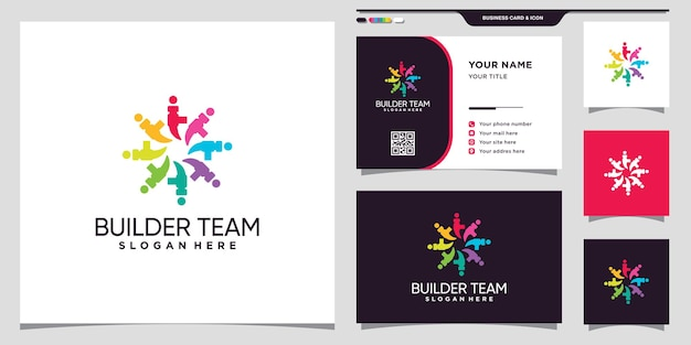Builder team community logo with hammer icon and business card design premium vector