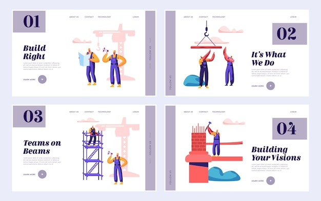 Builder team engineering bridge with construction crane set landing page. architect with hammer build gate. worker standing ladder building object website or web page. flat cartoon vector illustration