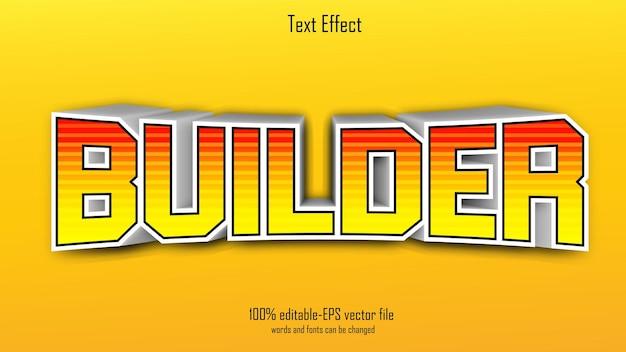 Строитель текстовый эффект дизайн вектор