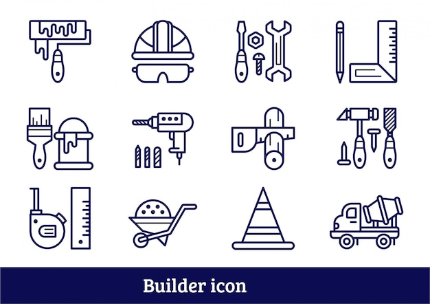 Builder tool icon set