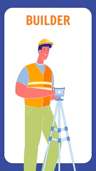 Builder in uniform flat vector flyer with text