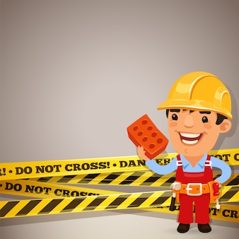 Builder with danger tapes