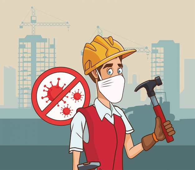 Builder with hammer using face mask