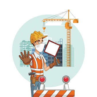 Builder with signal using face mask