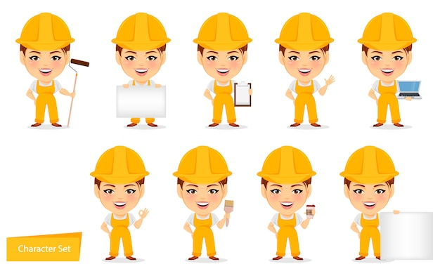 Builder woman. funny female worker with big head