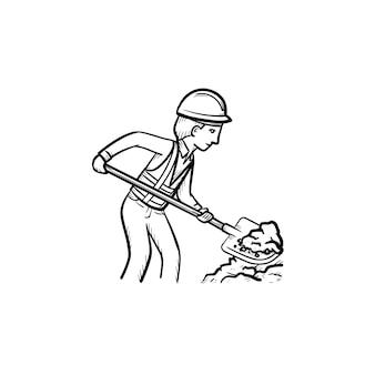 작성기 작업 삽 손으로 그린 개요 낙서 아이콘. 흰색 배경에 격리된 인쇄, 웹, 모바일 및 인포그래픽을 위한 삽 벡터 스케치 삽화가 있는 삽을 들고 단단한 모자를 쓴 남자.