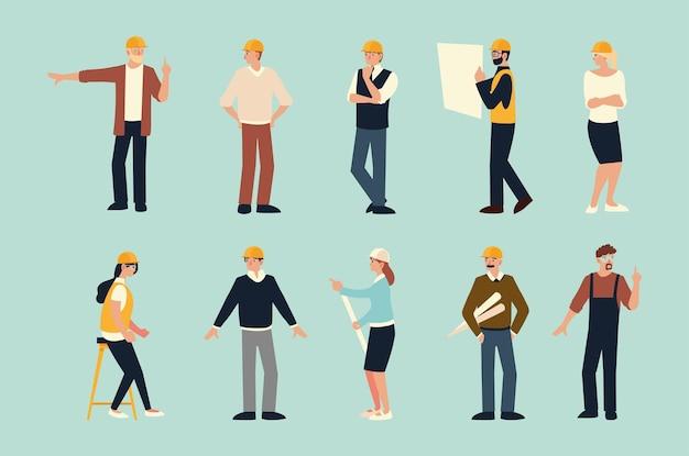 Строители и архитекторы, мужчины и женщины создают профессиональные персонажи