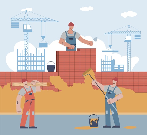 Builders are building house. worker in uniform and helmet lays brick, man holds roller, male character carries beam on crane builds skyscraper background, home renovation flat vector cartoon concept