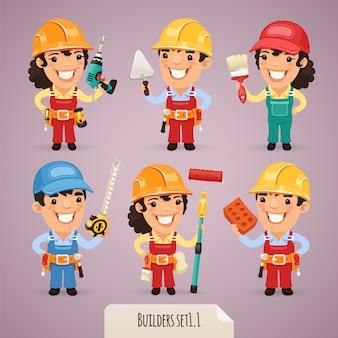 Builders cartoon characters set