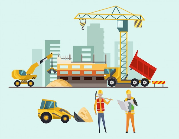 Builders on the construction site. building work process with houses and construction machines