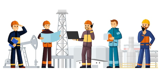 Builders construction site of oil factories illustration. people in helmets and uniforms developing gasoline production ordering building materials engineering and foreman inspectors. vector cartoon.
