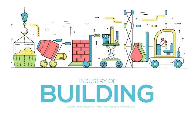 Строители делают работу и работают с концепцией тяжелых транспортных средств.