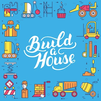Builders doing labor job and working with heavy vehicles concept.