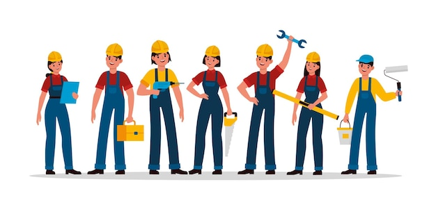 Группа строителей. команда людей строительной индустрии в шлеме и униформе, инженер-подрядчик, техник и строитель, механик, мужчина и женщина с инструментами, пилой, молотком и шпателем векторных персонажей