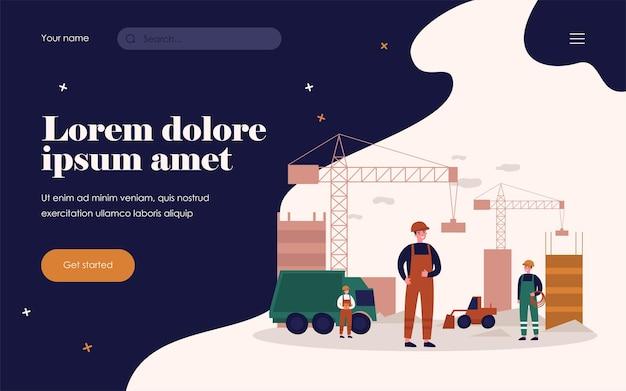Строители в униформе строят небоскребы. автомобиль, кран, плоская векторная иллюстрация сайта. концепция архитектуры и строительства для баннера, веб-дизайна или целевой веб-страницы