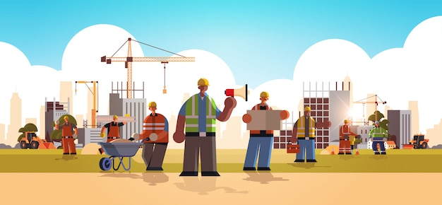Builders team wearing hard hat busy workmen standing together mix race industrial workers in uniform building concept construction site background flat full length horizontal  illustration