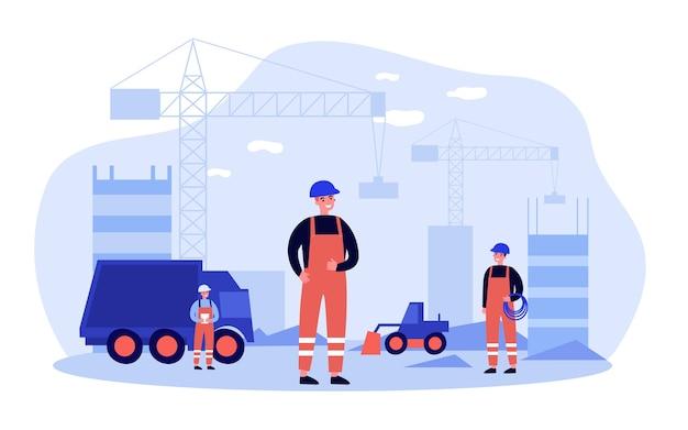 Builders in uniform building skyscrapers