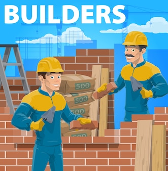 Builders working on house construction