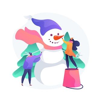 눈사람 추상적 인 개념 그림을 구축. 재미있는 활동, 겨울철 엔터테인먼트, 크리스마스 휴가, 눈이 쌓인 건물, 눈사람 만들기, 가족 야외 레저