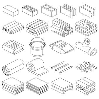 Строительные и строительные материалы векторные линейные иконки