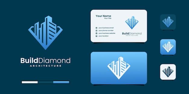 建物とダイヤモンドのロゴデザインのインスピレーション