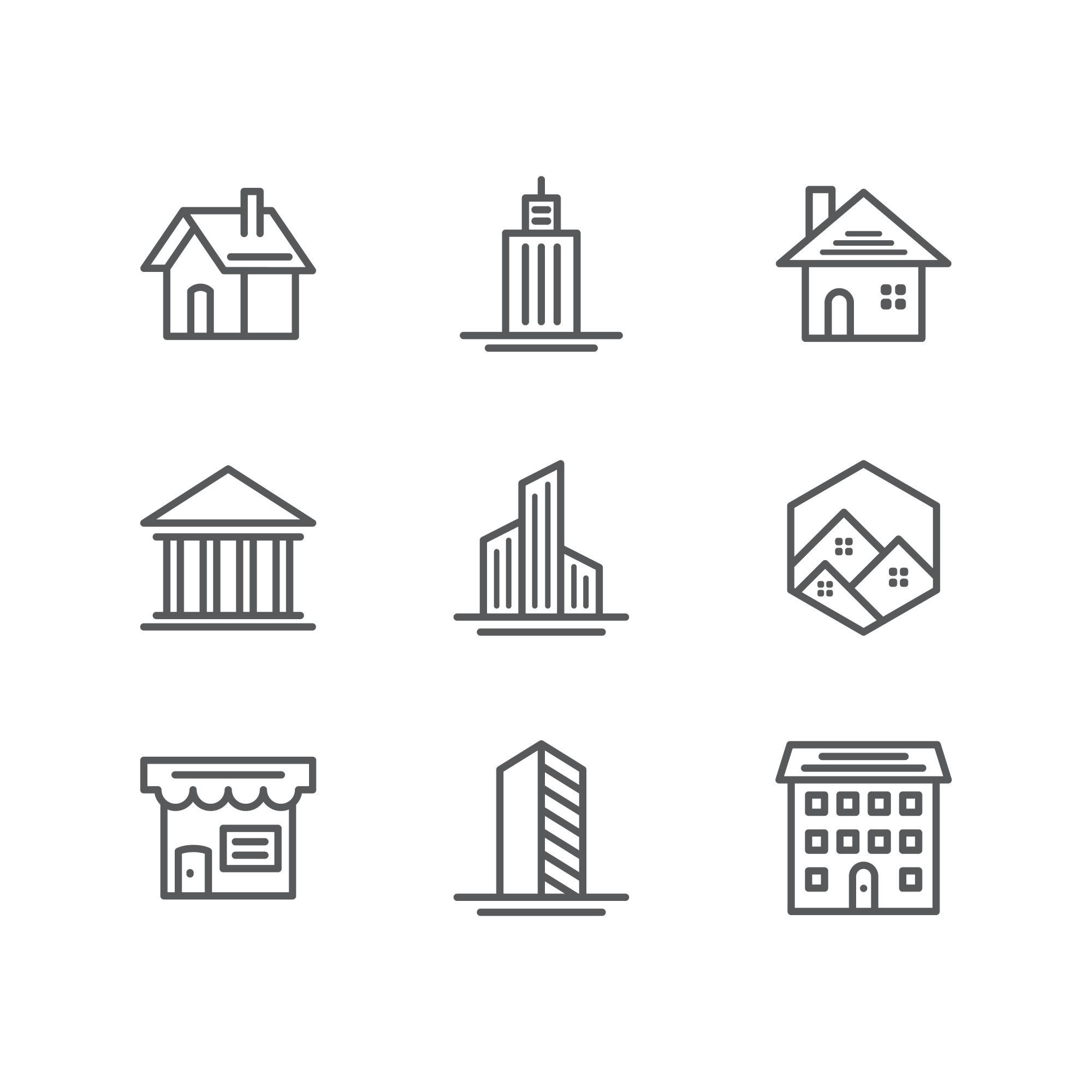 Building and real estate icons