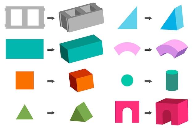 白い背景で隔離の建物とおもちゃのブロックの幾何学的図形セット。