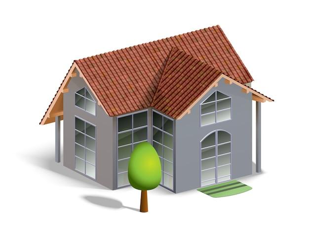 詳細と白で隔離の建物と木