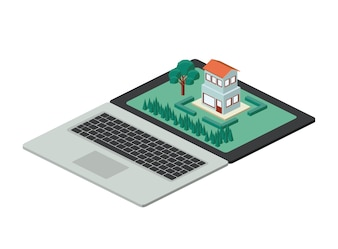 Building and trees isometric scene on laptop