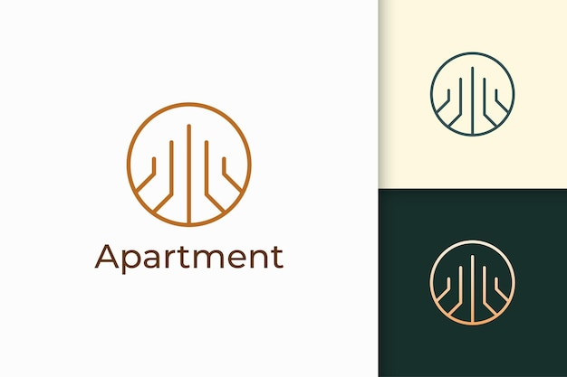 Building or apartment logo in simple line shape for real estate and mortgage